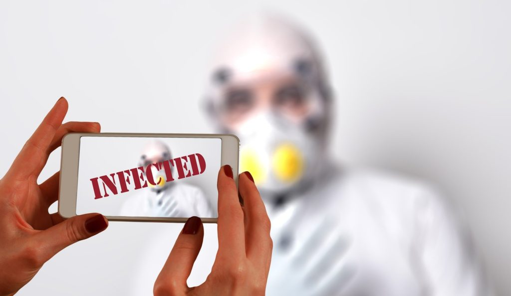 Bild vom infizierten COVID19 Patienten mit Atemschutzmaske